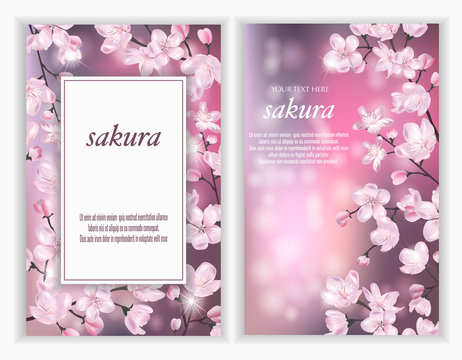 Set of Vector banners with Luxurious sakura flowers. Template for greeting cards, wedding decorations, invitation, sales, packaging. Spring or summer design. Floral poster, invite.