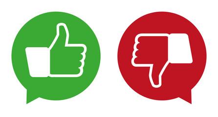 Speech bubbles - like dislike - vector