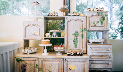 Original vintage dessert table at the wedding