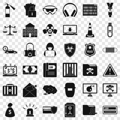Spam virus icons set. Simple style of 36 spam virus vector icons for web for any design