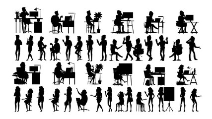 Business People Silhouette Set Vector. Man, Woman. Urban Meeting. Friends Communication. Body Row. Talking Together. Black Isolated On White Illustration