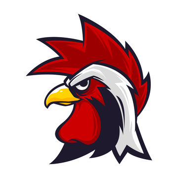rooster head mascot logo vector illustration