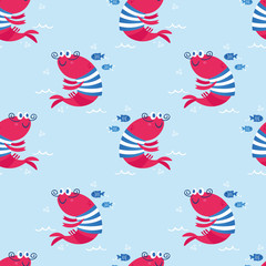 Cute sea vector animals of the deep: fish and shrimp.  Cartoon seamless pattern on a color background. It can be used for backgrounds, surface textures, wallpapers, pattern fills