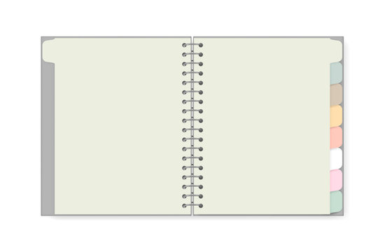 Open spiral notebook with tab divider pastel colored pages isolated on white background, realistic mockup. Blank wire bound notepad spread, vector template