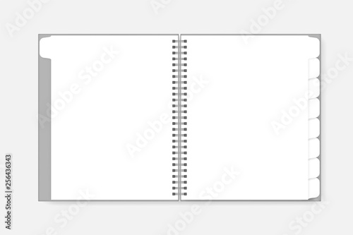 Open Blank Spiral Notebook With Tab Dividers Vector Mockup