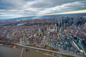 Fototapete - Wide angle aerial view of Midtown Manhattan and Central Park from helicopter, New York City