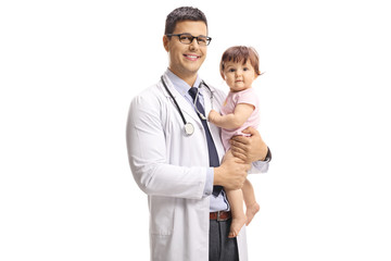 Smiling male pediatrician doctor holding a baby girl
