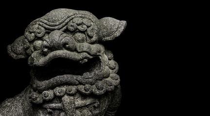 Chinese Style Antique Lion Sculpture Dark Background