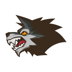 angry wolf head illustration mascot esports logo
