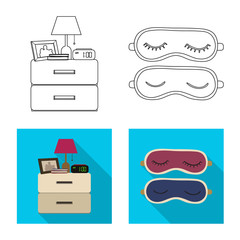 Vector illustration of dreams and night icon. Set of dreams and bedroom vector icon for stock.
