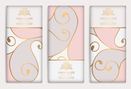 Luxury golden packaging design of chocolate bars. Vintage vector ornament template. Elegant, classic elements. Great for food, drink and other package types. Can be used for background and wallpaper