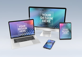 4 Devices on White Mockup