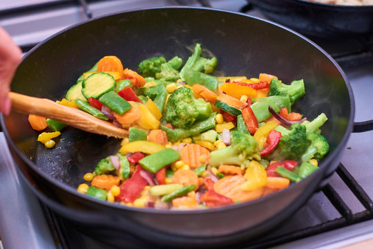 A mixture of frozen different vegetables