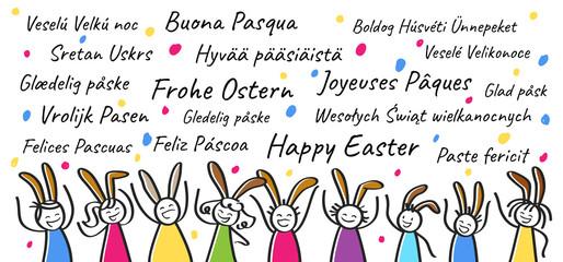 Frohe Ostern in verschiedenen Sprachen, Strichmännchen