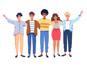 Happy people group portrait. Friends waving hands, embracing each other vector illustration