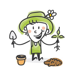 Garten Strichfiguren: Blumentopf, pflanzen (5)