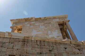 Detail photo of iconic temple of Athena Nike in Propylaia,