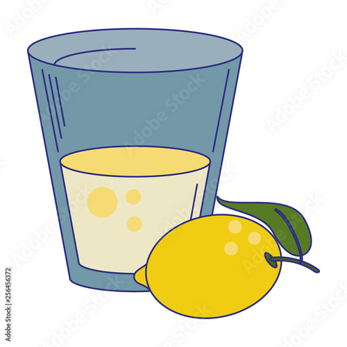 lemonade drink cup with lemon fruit blue lines