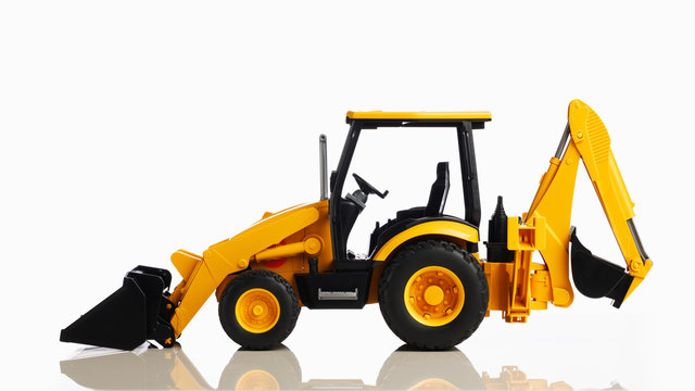 backhoe tractor toy, white background