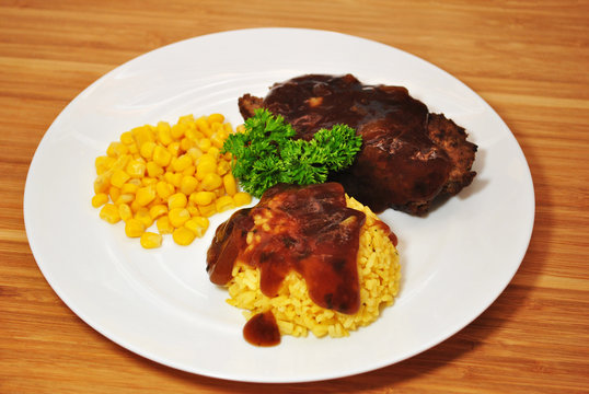Meatloaf Dinner With Yellow Rice & Corn