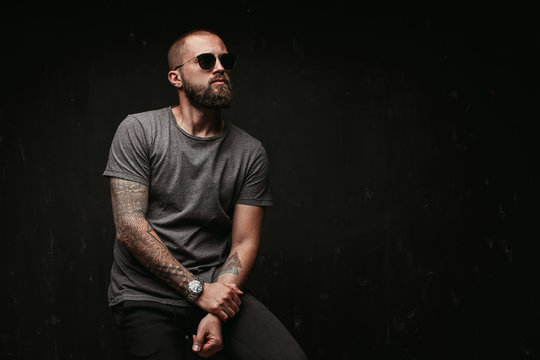 Portrait of a handsome balded man with long well trimmed beard wearing sunglasses and grey shirt looking away to side.