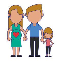 Family avatar faceless cartoon blue lines