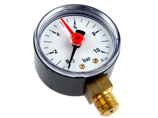 Manometer or pressure gauge for water pump installations, isolated on white