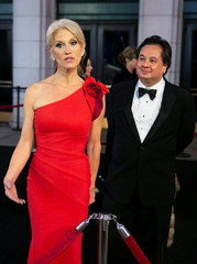White House Counselor Kellyanne Conway and her husband George Conway arrive for pre- Trump inauguration dinner at Union Station in Washington