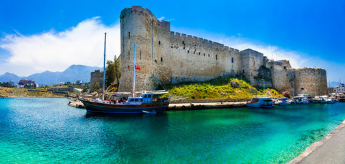 Landmarks of Cyprus -  Kyrenia old town , medieval fortress in northen turkish part Wall mural