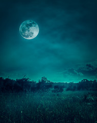 Fototapete - Landscape of night sky with clouds.Beautiful bright full moon
