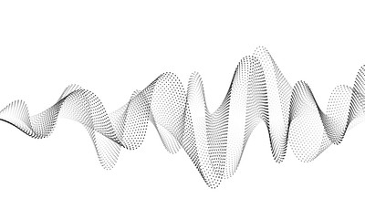 Sound wave vector background. Audio music soundwave. Voice frequency form illustration. Vibration beats in waveform, black and white color. Creative concept Wall mural