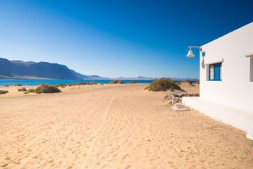 landscape of small town in La Graciosa Island, Canary Islands