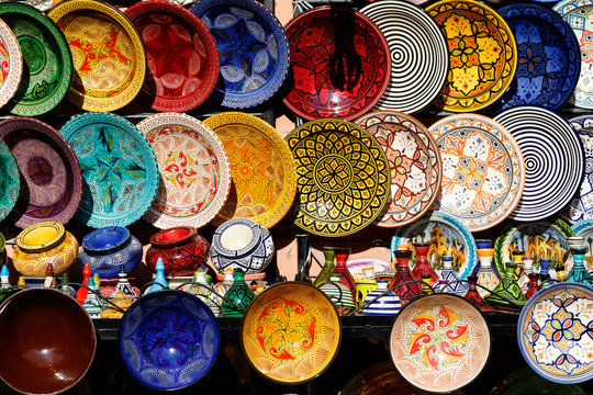 Traditional arabic handcrafted, colorful decorated plates at the market in Marrakesh, Morocco, Africa