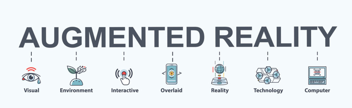 Augmented Reality banner web icon for business and technology, visual, AR, reality, interactive and overlaid sensor. Minimal vector infographic.