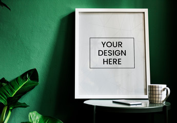 White Frame in a Green Room Mockup