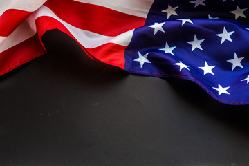 Closeup of American flag USA on color background