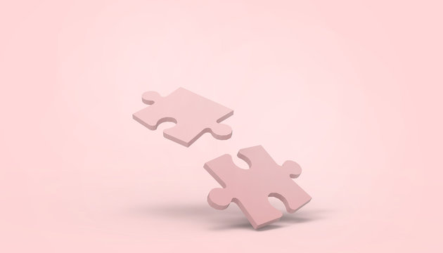 jigsaw Pink puzzle game Connect Movement creative idea and business Concept Leadership on pastel Pink  background - 3d rendering