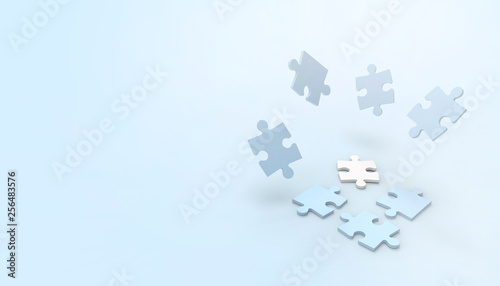 Jigsaw blue and White puzzle game Movement creative idea and