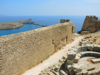 Ruins of the castle in Lindos. Rhodes