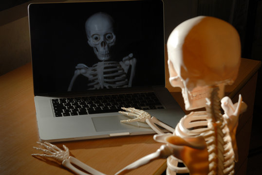 anatomic skeleton with skull working on laptop at night reflected in computer screen
