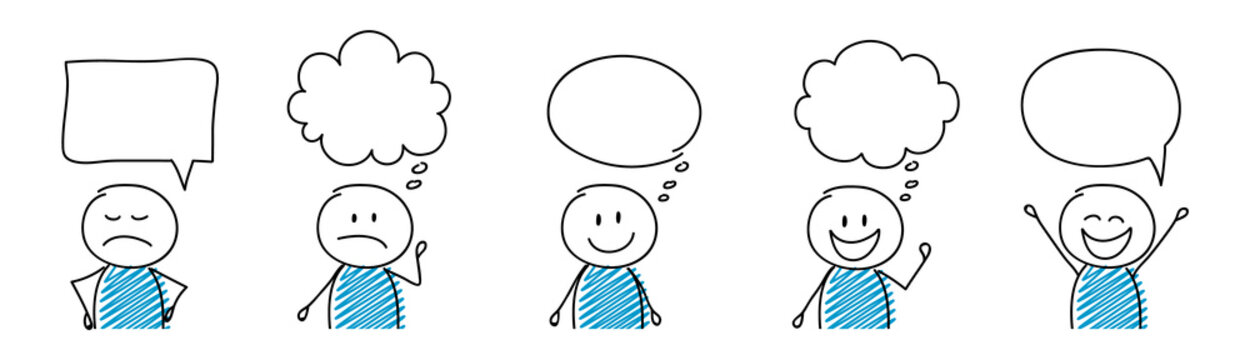 Cartoon people with empty speech bubbles - set. Vector