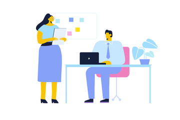 Wall Mural - Working in the office. Lady boss and office worker. Man and woman working and communication in modern trendy office. Cartoon style, flat vector illustration isolated on white background.