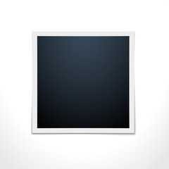 Realistic vector photo frame over white. Template photo design.