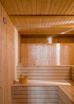 Wooden sauna room, vertical