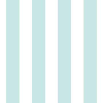 Preppy wide vertical stripe seamless pattern in turquoise and white. Clean coastal repeat design, great for beach house decor, summer fashion, textiles, towel designs and wallpaper. Vector.