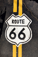 Foto auf AluDibond Route 66 route 66 sign at the street