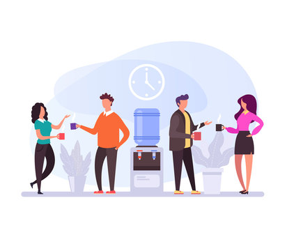 Business people characters having coffee break time lunch. Office life concept. Vector flat design graphic cartoon isolated illustration