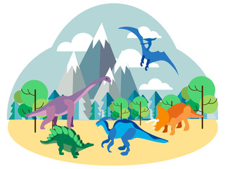 Dinosaurs, prehistoric animals on nature, set. In minimalist style Cartoon flat Vector