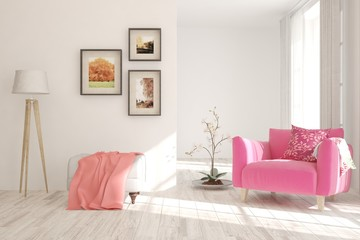 Colorful cozy minimalist room with armchair. Scandinavian interior design. 3D illustration