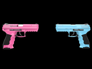 Pink and blue semi auto handguns - face to face